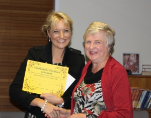 Third place winner Lena Metcalf receiving her certificate from judge Jessica Hawksby.